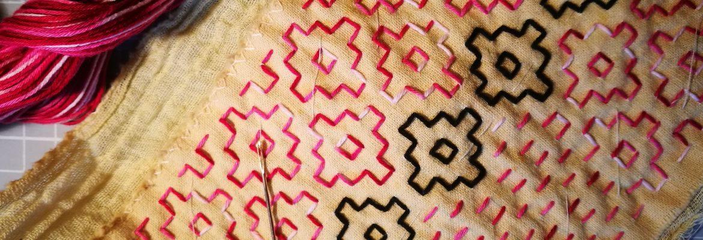 Pink sashiko stitching